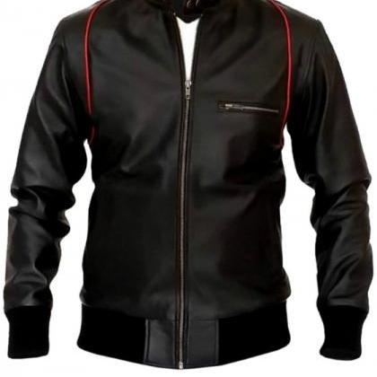 RED LINING SLIM FIT BLACK BIKER LEA..