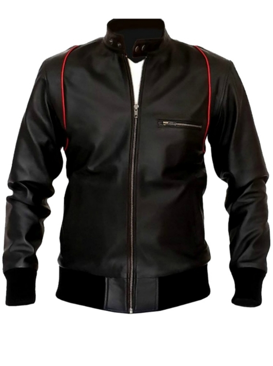RED LINING SLIM FIT BLACK BIKER LEATHER JACKET 2016 MEN'S