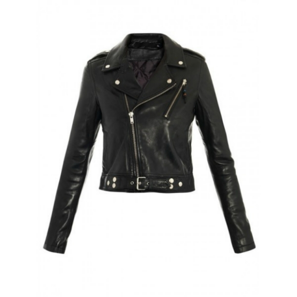 BRANDO BELTED STYLE BLACK ORIGINAL LEATHER JACKET 2016 WOMAN'S