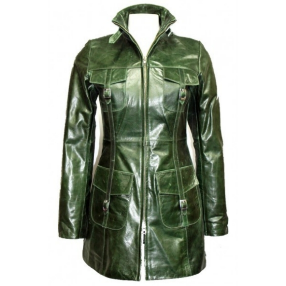 296dc4a32261c CUSTOM MADE GREEN TRENCH ORIGINAL LEATHER LONG COAT 2016 WOMAN S on ...