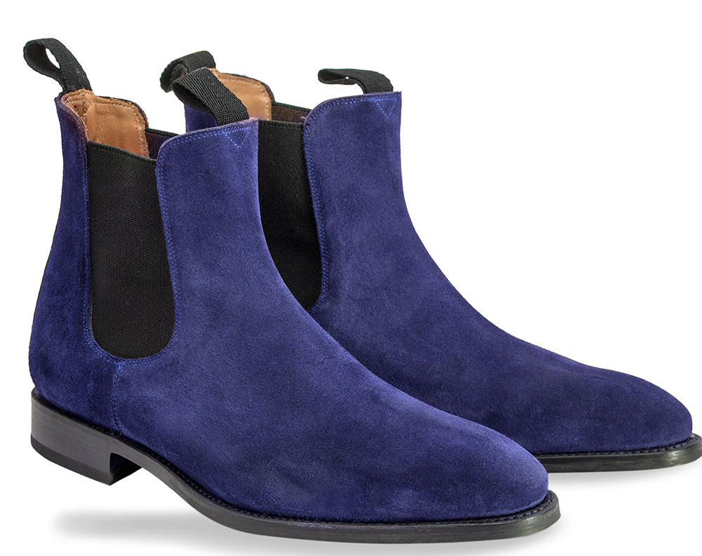 2bfdd815324 Chelsea Navy Blue Color Hand Made Suede Leather Boots Mens Blue Chelsea  Boots