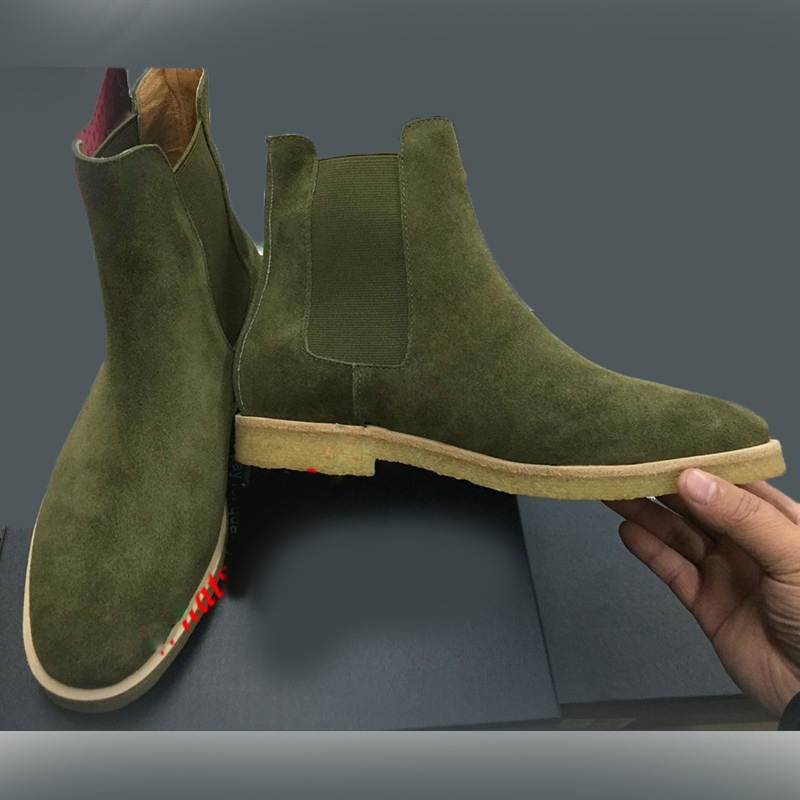 44919359f5ae0 HANDMADE CHELSEA ANKLE GREEN SUEDE LONG ANKLE BOOTS MEN CRAPE SOLE BOOTS