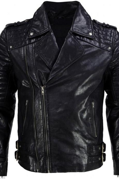 New Leather Jacket Fashion Quilted Style Soft Lambskin Jacket For Men