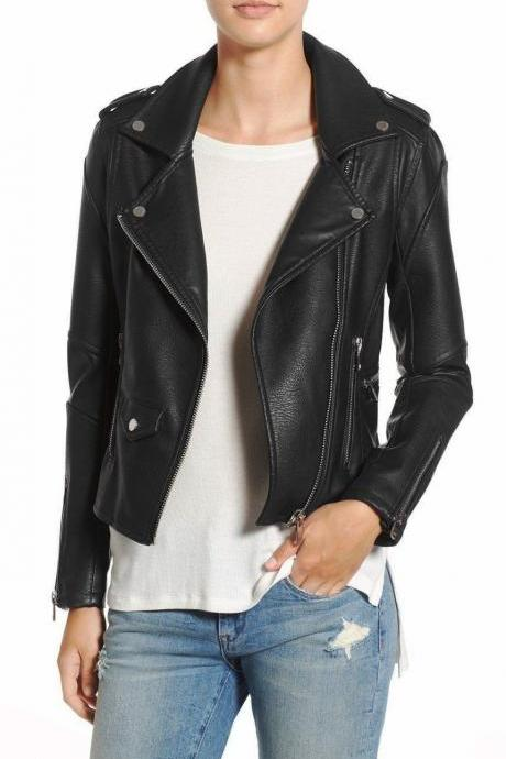 Women Branded Long sleeves zip cuffs Soft Fashion Leather Jacket