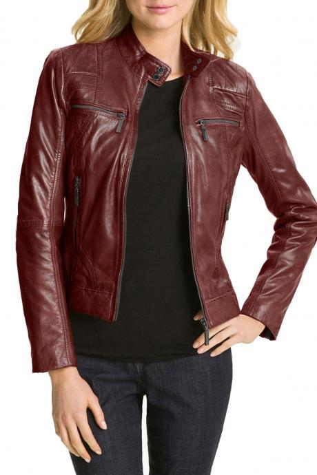 New Women Hollywood Collection Soft Leather Biker Jacket
