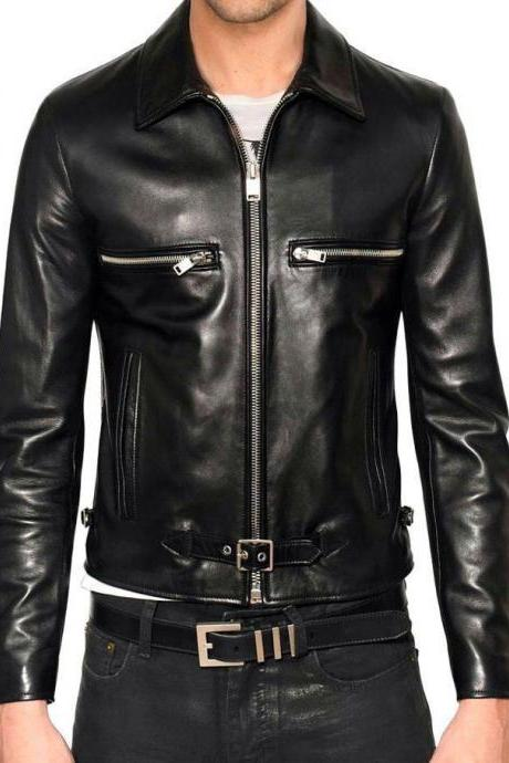 Handmade Leather Jacket Brand 100% Genuine Soft Cow Hide Biker Jacket For Men