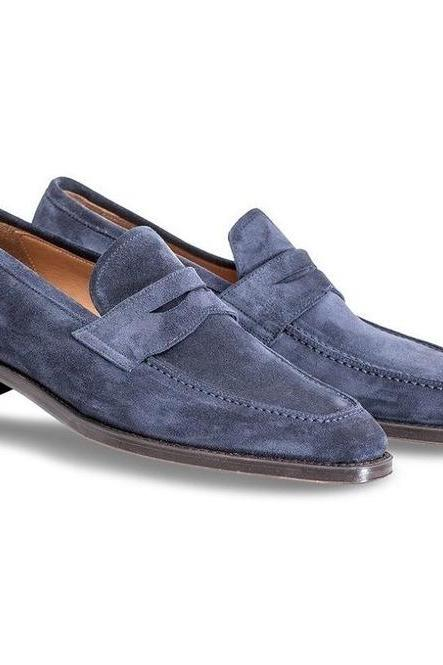 Handmade Men Navy Blue Suede Moccasins, Men Suede Dress Formal Shoes
