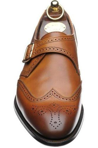 New Handmade Men Single Monk Strap Shoes, Wingtip Brogue Leather Dress Formal Shoes
