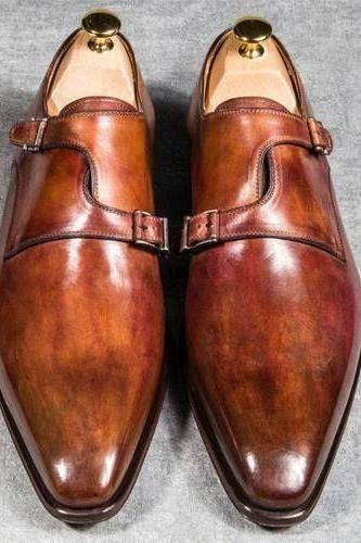 Handmade Double Monk Brown Shaded Shoes, Dress Formal Shoes, Men's Designer Formal Shoes