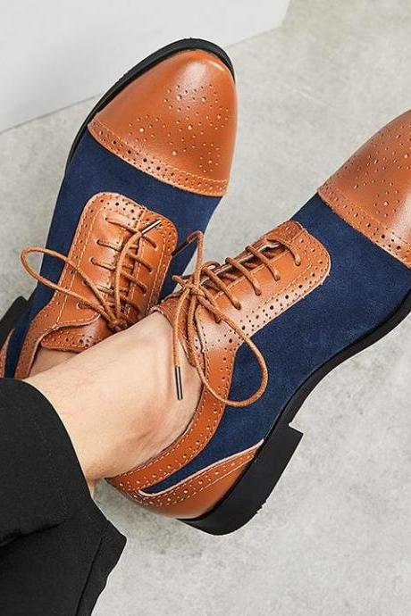 Handmade Men's Casual Shoes, Men's Navy Blue Brown Leather & Suede Lace up Shoes