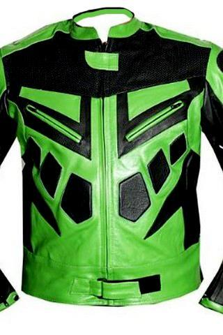 MOTORCYCLE SPEED RACING ARMOR LEATHER JACKET Green BLACK , Men's Leather Jacket