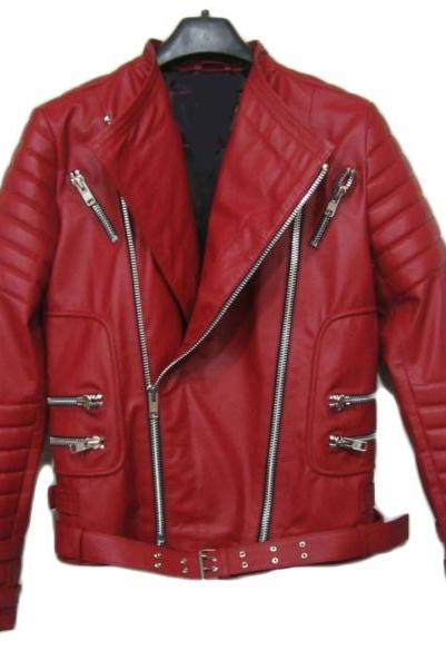 BALMAIN LEATHER RIBBED RED BIKER JACKET NEW SPECIAL MEN JACKET 2016