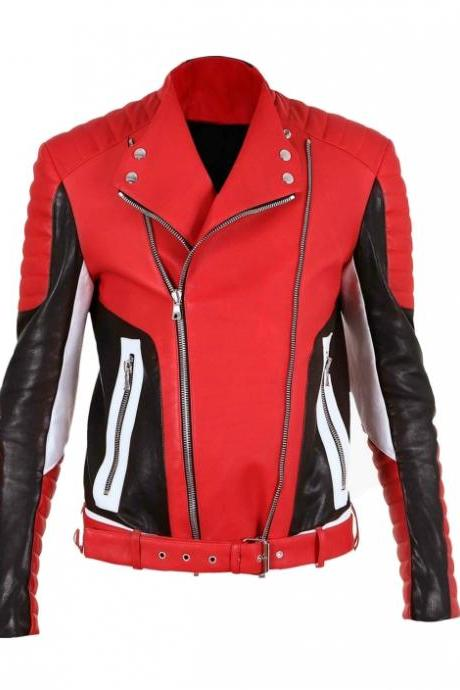 BALMAIN QUILTED RED BLACK LEATHER BIKER JACKET MEN NEW SPECIAL 2016