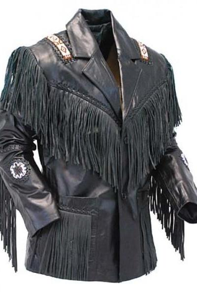 Black Western Cowboy Style Leather Jacket Men's 2016
