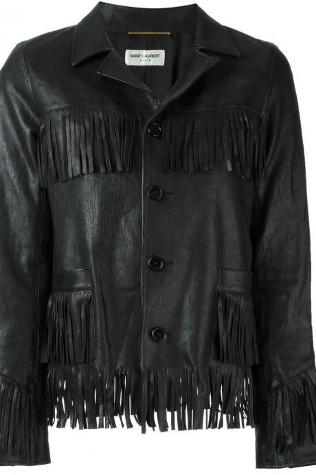 Black Lambskin And Silk 'Curtis' Jacket From Saint Laurent Featuring Men's 2016