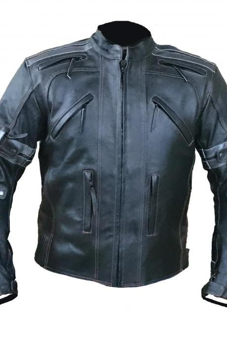 CLASSIC BLACK FRONT ZIPPER RACING LEATHER JACKET MEN'S 2016