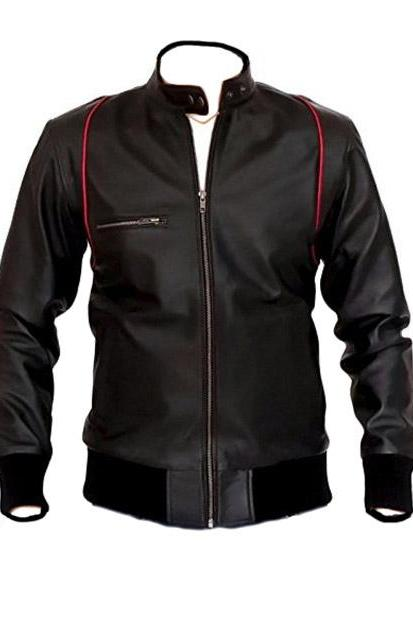 Mandarin Collar Classic Black Racing Leather Jacket Men's 2016