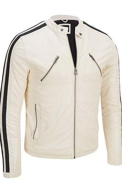 WHITE WITH CLASSIC BLACK LINING LEATHER JACKET 2016 MEN'S