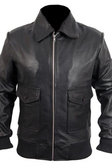 Brosnan Classic Black Real Leather Pierce High Quality Jacket 2016 Men's