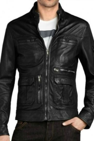 BLACK BIKER FRONT FLAP POCKET SAND JACKET 2016 MEN'S