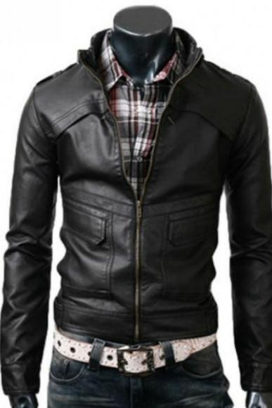 CLASSIC BLACK SLIM FIT BIKKER LEATHER JACKET MEN'S 2016