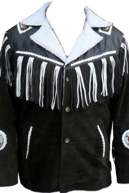 WESTERN COWBOY SUEDE FRINGED BEADED LEATHER JACKET 2016 MEN'S