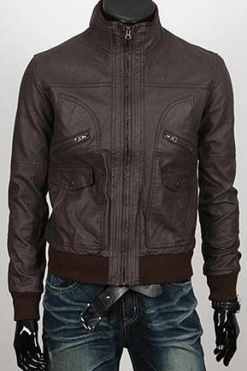6 POCKET SLIM-FIT BOMBER BROWN RACING LEATHER JACKET MEN'S 2016