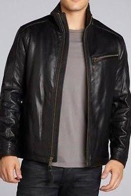 STAND COLLAR CLASSIC BLACK RACING LEATHER JACKET 2016 MEN'S