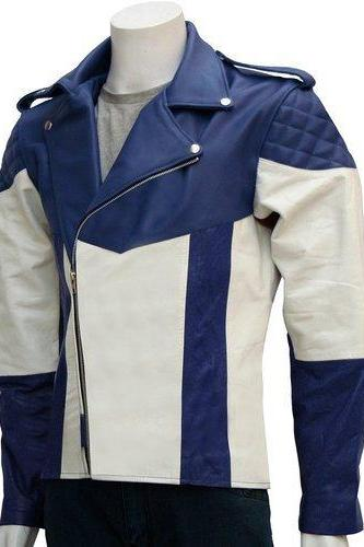 ORIGINAL LEATHER BLUE WHITE STRIP BIKER RACING JACKET 2016 MEN'S