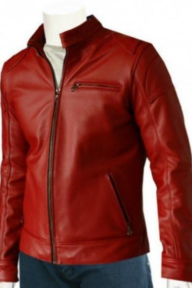 ELEGANT RED FRONT ZIPPER BIKER LEATHER JACKET 2016 MEN'S