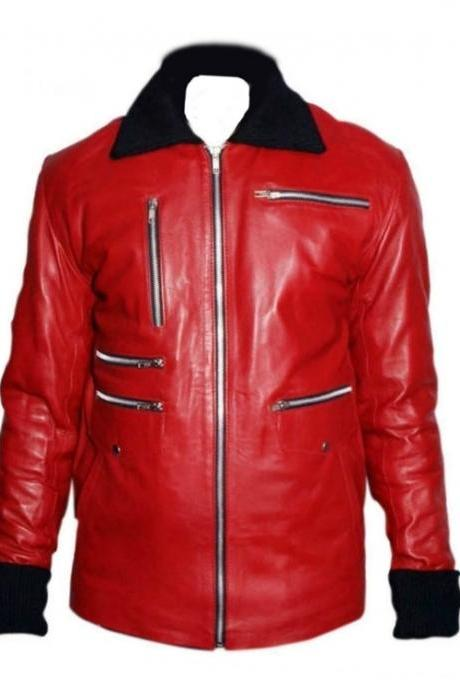 FASHION ZIPPER RED LEATHER JACKET MEN'S 2016