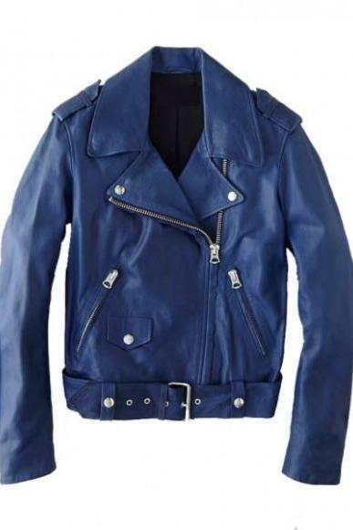 WOMEN'S ELEGANT BLUE BIKER RACING LEATHER JACKET 2016