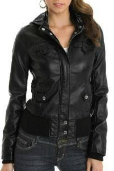 LADIES TOP BLACK BOMBER LEATHER JACKET 2016 WOMAN'S
