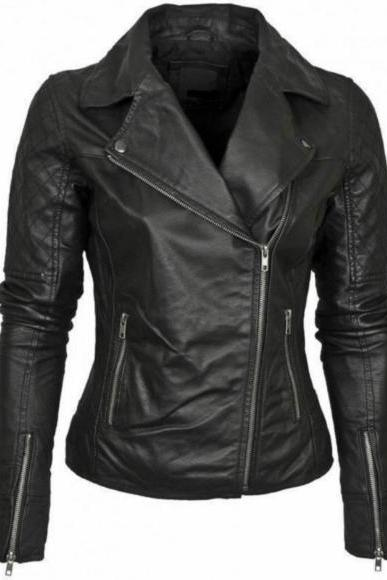 CUT COLLAR MS BLACK ORIGINAL LEATHER JACKET 2016 WOMAN'S