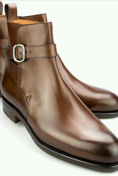 Handmade Jodhpurs Brown High Ankle Shoes 2016 Men's
