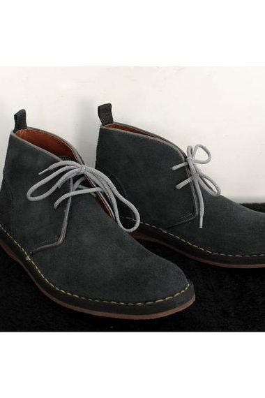 Classic Oxford Style Black Gray Original Leather Boots 2016 Men's