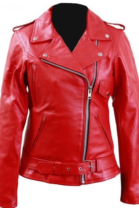 Women Red Brando Genuine Leather Jacket