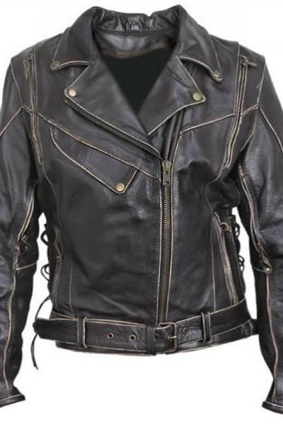Antique Black Rub Off Leather Motorcycle Jacket For Men,s
