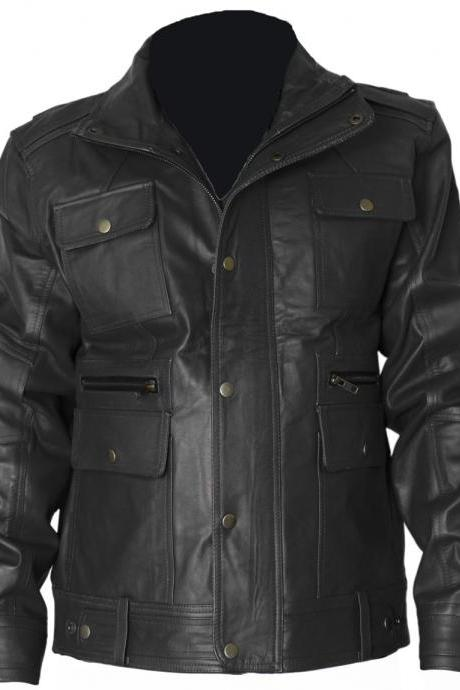 Custom Made Black Flap Pocket Leather Jacket For Mens