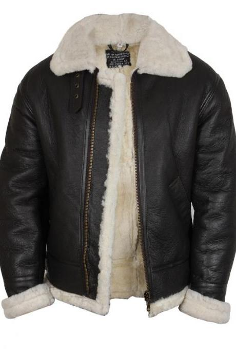 Real Shearling Sheepskin Leather Flying Jacket Men's Aviator