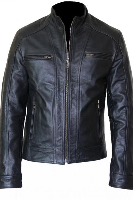 Men's Black Slim Biker Leather Jacket