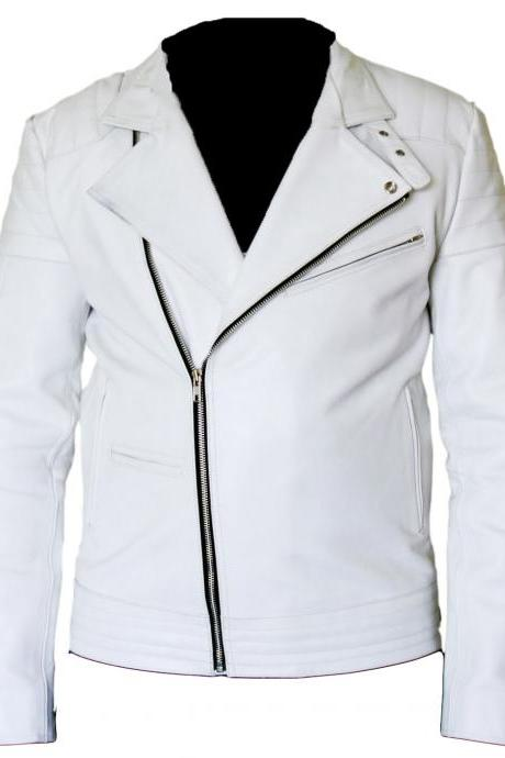 White Brando Leather Jacket, Mens Leather Jacket
