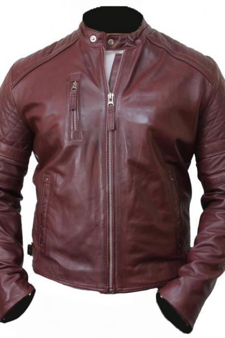 Men's Leather Biker Jacket Burgundy Color Mens