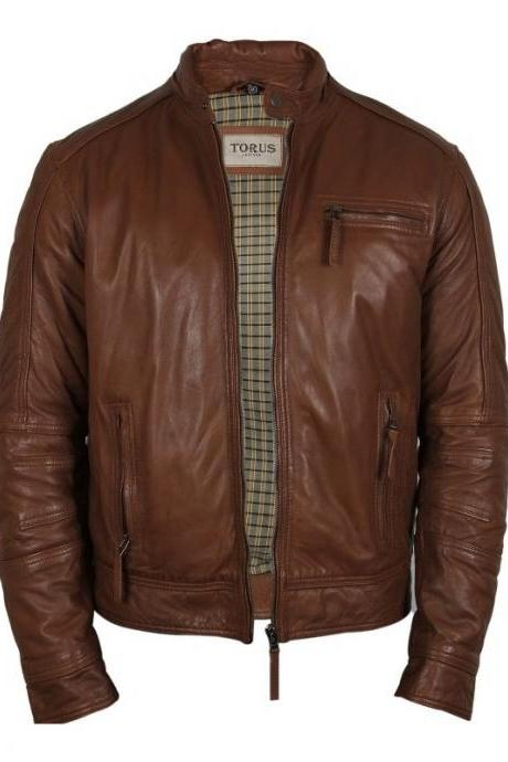 Men's Tan Leather Jacket For Mens