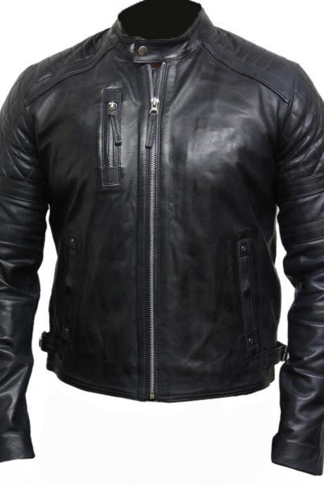 Custom Made Slim Fit Jet Black Cow Leather Jacket