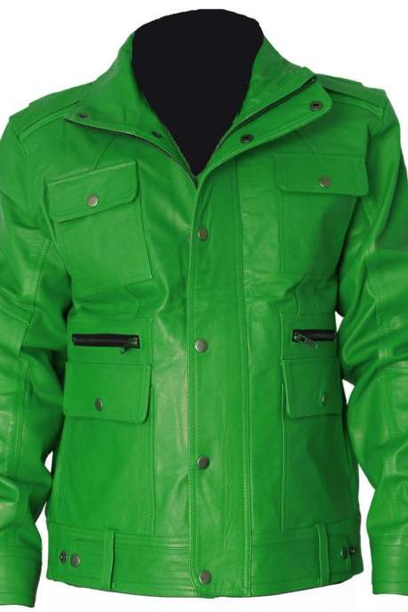 Elegant Green Womens Leather Coat Button Coloser