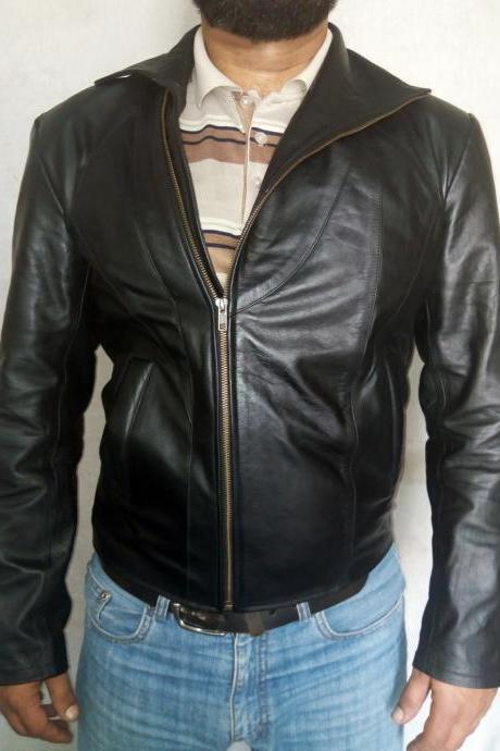 Hand made Leather fashion Leather jacket Men's Black leather jacet