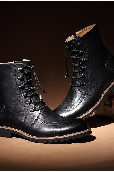 Handmade Men Military 70 Lace-up Ankle High Leather Boot Men Black Leather Boots