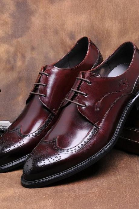 Handmade Fashion Brown Formal Oxfords Mens business Shoes Genuine Leather Dress Shoes
