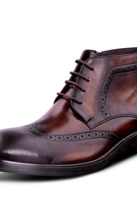 Fashion Reddish Brown Oxfords shoes Dress Shoes Mens Ankle Boots Genuine Leather